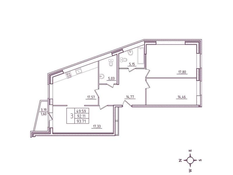 Планировка Трёхкомнатная квартира площадью 93.71 кв.м в ЖК «Дом на Киевской»