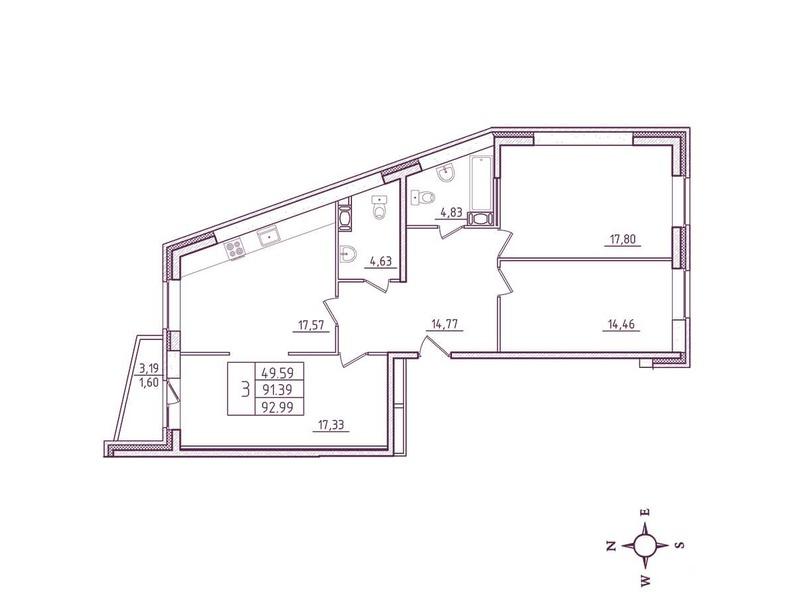 Планировка Трёхкомнатная квартира площадью 92.99 кв.м в ЖК «Дом на Киевской»