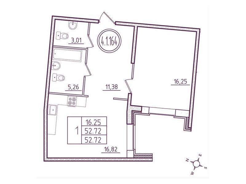 Планировка Однокомнатная квартира площадью 52 кв.м в ЖК «Дом на Киевской»